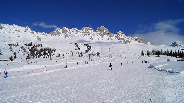 skiing on the Italian Alps