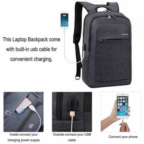 Slotra Slim Anti-theft Backpack USB charger