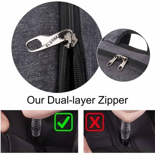 Slotra Slim Anti-theft Backpack zippers